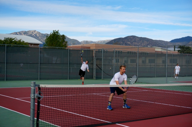 Conrad Perry and Connor Elmore from Laguna Blanca playing tennis against Redlands High School