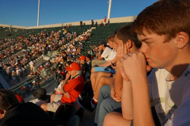 The boys taking in recent Australian Open champion Stan-the-Man Wawrinka on the brand-new Stadium Court 2