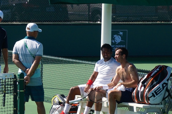 Radek Stepanek with doubles partner Leander Paes