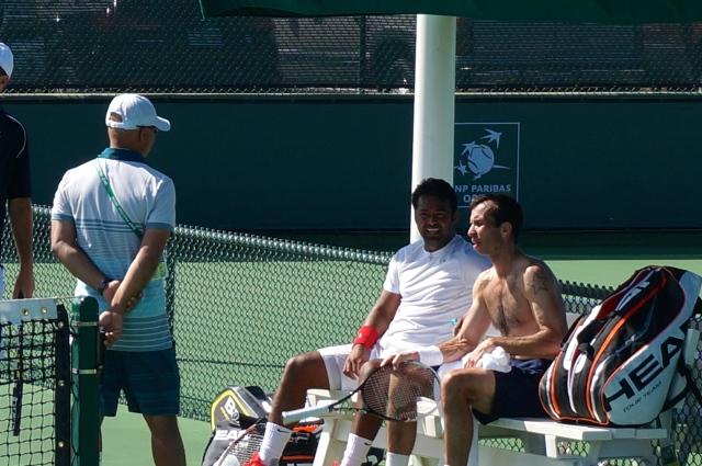Radek Stepanek with doubles partner Leander Paes
