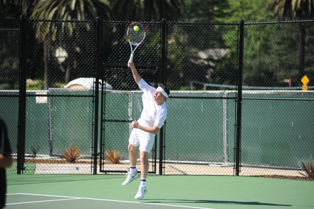 Jack Espy Serves against Rio Mesa for Laguna Blanca Tennis at Furukawa Tennis Facility in Hope Ranch