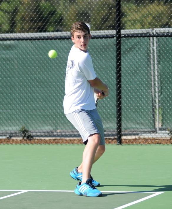 Phillip Hicks crushes a backhand for Laguna Blanca Tennis 2014