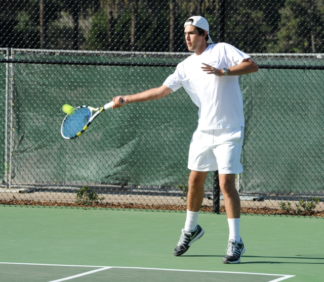Dalton Smith reaches out for a forehand against the #1 team from Rio Mesa