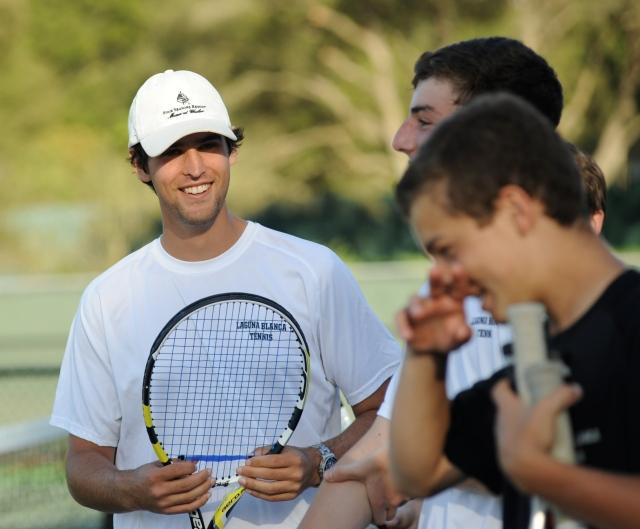 The boys of Laguna Blanca Tennis Having a Good Time, As Usual Henry Farrell, Phillip Hicks, Dalton Smith 2014