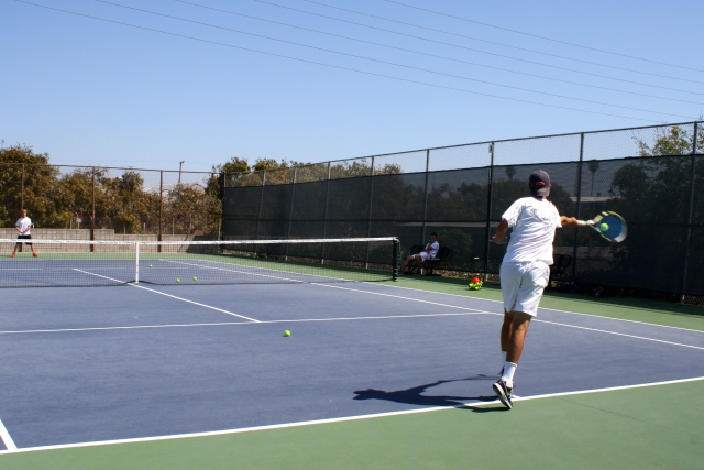 Dalton Smith getting primed to do battle in the singles lineup.