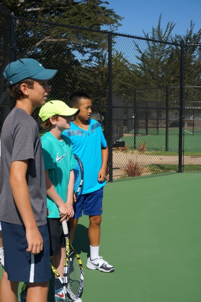 Camp Director Trevor Thorpe working with the A Group at Laguna Blanca Tennis Camp 2014