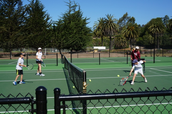 Coach Zach Hasenyager teaching at Laguna Blanca Tennis Camp 2014