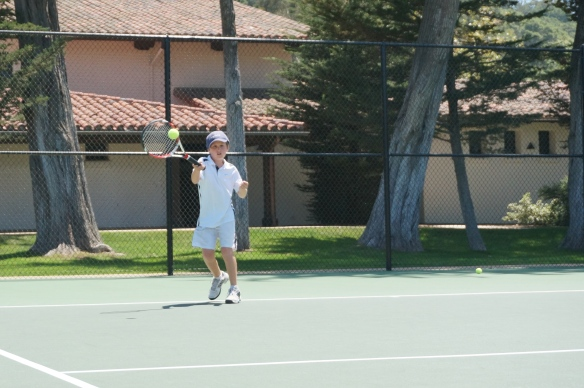 Harrison Fell Crushes a forehand at Laguna Blanca Tennis Camp 2014