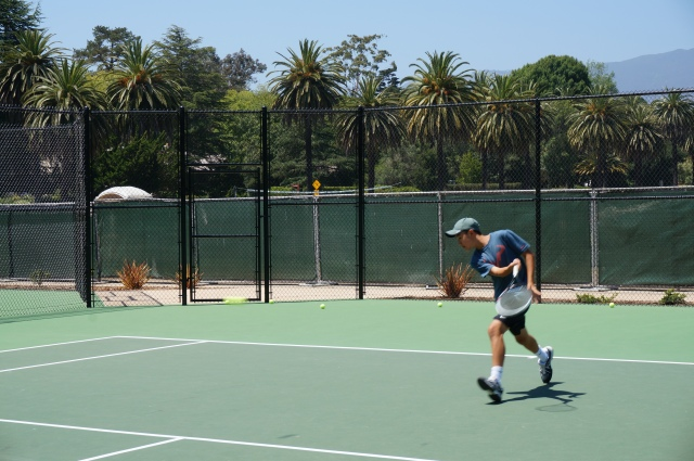 Michael Chung slice forehand and volley Laguna Blanca Tennis Camp