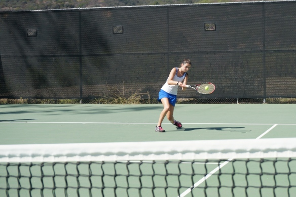 Pharibe Pope gets low on the backhand side