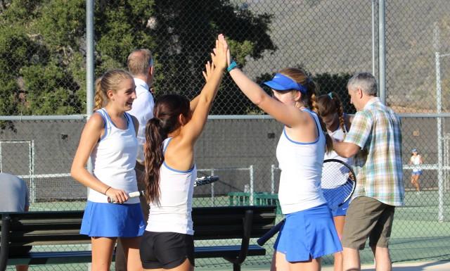 Julia Gan and Summer Christensen Cate Tennis High-fivin