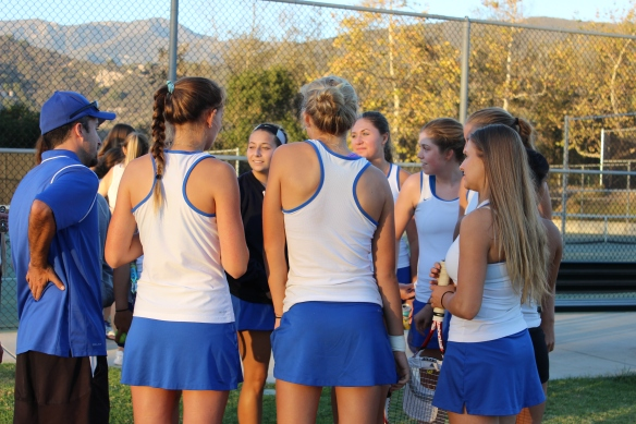 Cate Girls Tennis Team Huddle