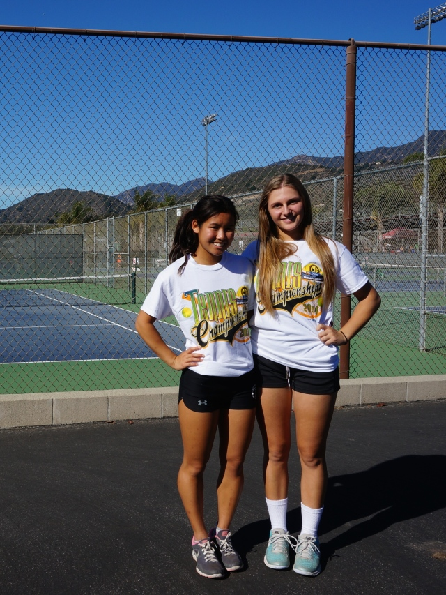 McKenna Madden and Julia Gan celebrating a solid CIF Individuals performance