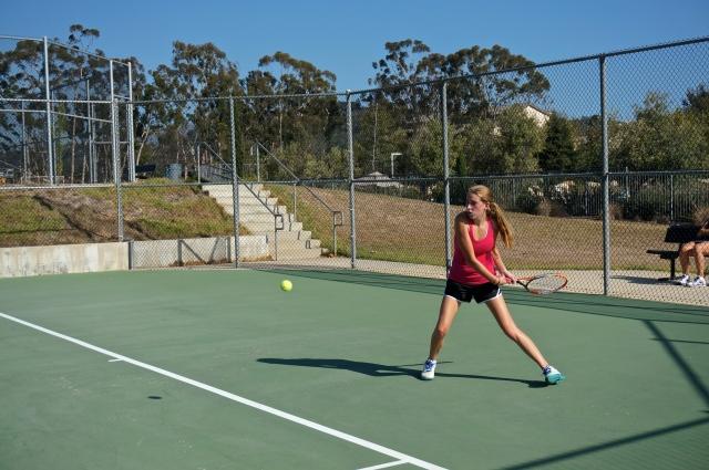 Cecelia Sanborn backhand from the baseline