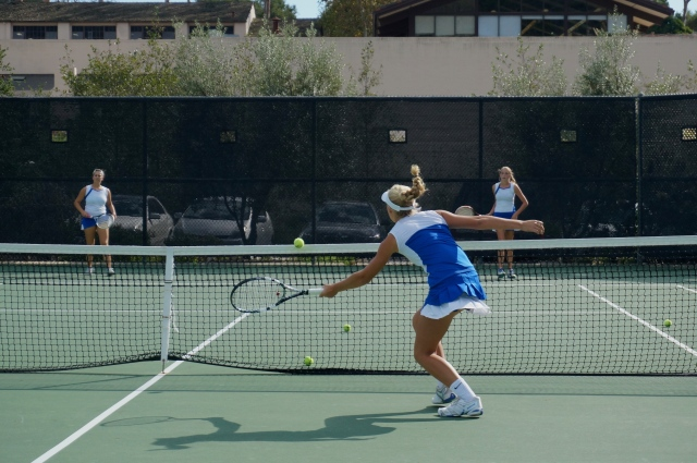 Eva Herman perfecting the forehand volley