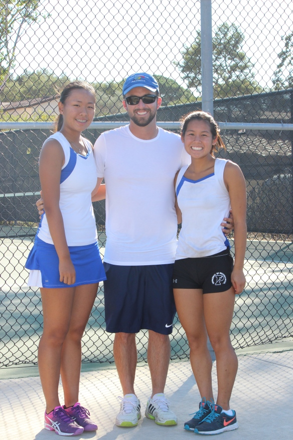 Tri-Valley League Singles Champion and Runner-Up Julia Gan Jackie Cai with Coach Trevor Thorpe