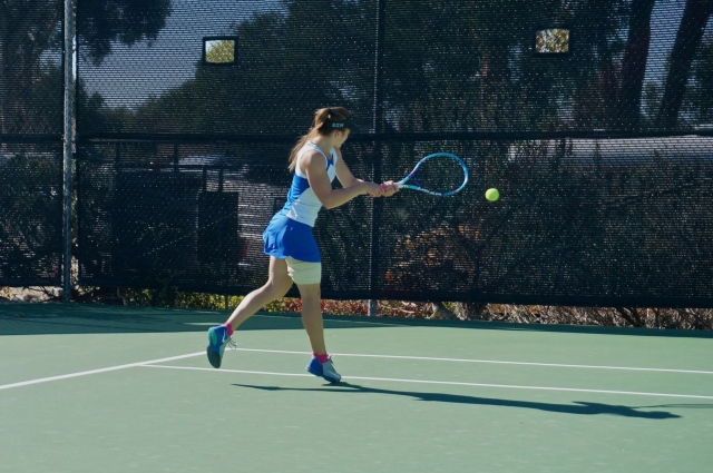 Sarah Polowczak smacks a backhand in CIF Playoffs 2015